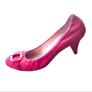 Salvatore Ferragamo Vara Varina Pink Suede Heels 7